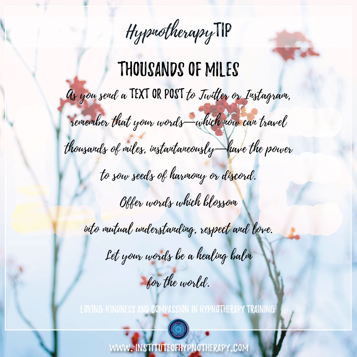 Hypnotherapy Tip : Thousands of Miles